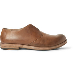 Marsell Washed-Leather Slip-On Derby Shoes