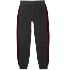 Alexander McQueen Tapered Velvet-Trimmed Cotton-Jersey Sweatpants