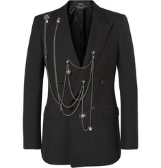Alexander McQueen Black Slim-Fit Embellished Wool Blazer
