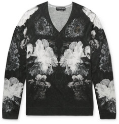 Alexander McQueen Slim-Fit Floral-Print Wool and Silk-Blend Sweater