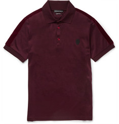 Alexander McQueen Slim-Fit Velvet-Trimmed Mercerised Cotton-Jersey Polo Shirt