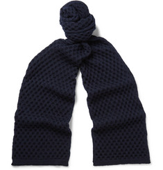 Jil Sander Honeycomb-Knit Wool Scarf