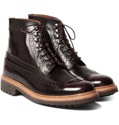 Grenson - Sebastian Polished-Leather Brogue Boots