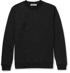 McQ Alexander McQueen Embroidered Loopback Cotton-Jersey Sweatshirt