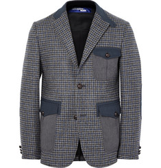 Junya Watanabe Grey Slim-Fit Twill-Trimmed Houndstooth Wool Blazer
