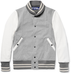 Junya Watanabe Cotton-Blend Jersey and Faux Suede Bomber Jacket