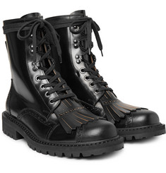 Dries Van Noten - Polished-Leather Kiltie Brogue Boots