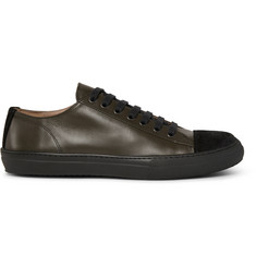 Dries Van Noten Cap-Toe Leather and Suede Sneakers