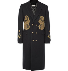 Dries Van Noten - Rennie Slim-Fit Double-Breasted Appliquéd Wool-Blend Coat