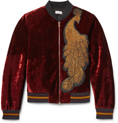 Dries Van Noten - Reversible Appliquéd Velvet and Quilted Satin Bomber Jacket