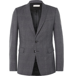 Dries Van Noten Blue Slim-Fit Prince of Wales Checked Wool Blazer