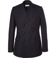 Dries Van Noten Blue Slim-Fit Double-Breasted Pinstriped Wool Suit Jacket