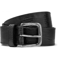 Dries Van Noten - Snake-Effect Leather Belt