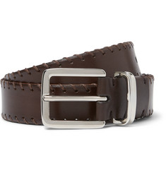Brunello Cucinelli 3cm Brown Whipstitched Leather Belt