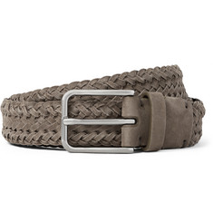 Brunello Cucinelli 3cm Grey Braided Suede Belt