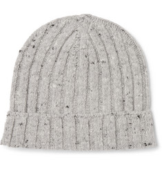 Brunello Cucinelli - Mélange Ribbed Wool-Blend Beanie