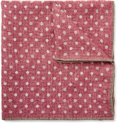 Brunello Cucinelli Polka-Dot Wool Pocket Square
