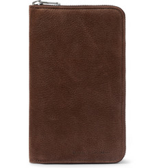 Brunello Cucinelli Grained-Nubuck Travel Wallet