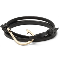 Miansai - Grained-Leather and Gold-Plated Hook Wrap Bracelet