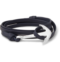 Miansai - Leather and Silver-Plated Anchor Wrap Bracelet