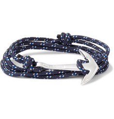 Miansai Cord and Silver-Plated Anchor Wrap Bracelet