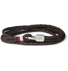 Miansai Braided Leather and Silver Wrap Bracelet