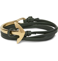 Miansai - Leather and Gold-Plated Anchor Wrap Bracelet