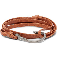 Miansai Grained-Leather and Rhodium-Plated Hook Wrap Bracelet