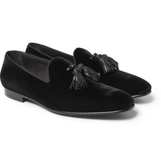 Burberry - Leather-Trimmed Velvet Tassel Loafers