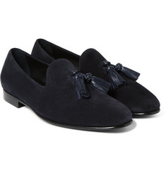 Burberry - Leather-Trimmed Suede Tasselled Loafers