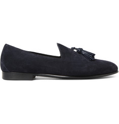 Burberry Leather-Trimmed Suede Tasselled Loafers