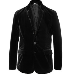 Tomas Maier Black Slim-Fit Unstructured Stretch-Cotton Velvet Blazer