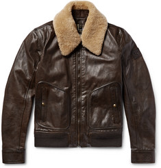 Belstaff Campbell Shearling-Trimmed Leather Jacket