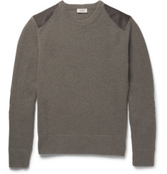 Belstaff Buckley Textured Leather-Panelled Ribbed Merino Wool Sweater