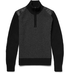 Belstaff Eyston Leather-Trimmed Merino Wool Half-Zip Sweater