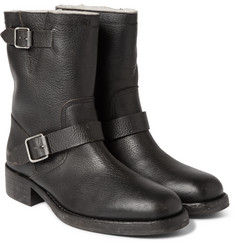 Maison Margiela - Shearling-Lined Grained-Leather Biker Boots