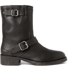 Maison Margiela Shearling-Lined Grained-Leather Biker Boots