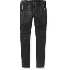 Balmain Slim-Fit Coated Stretch-Denim Biker Jeans