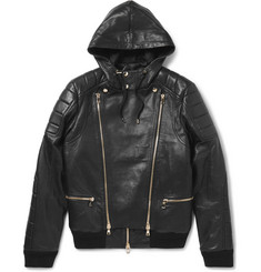 Balmain Panelled Leather Bomber Jacket