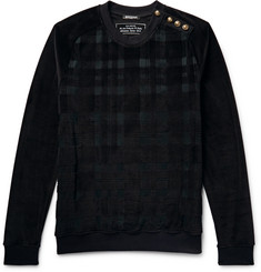 Balmain Embellished Checked Velour Sweatshirt