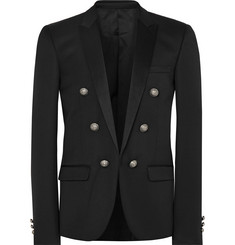 Balmain Black Slim-Fit Satin-Trimmed Wool Blazer