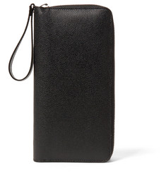Valextra All-In-One Pebble-Grain Leather Travel Wallet