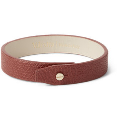 Valextra Pebble-Grain Leather Bracelet