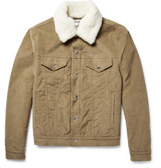 Acne Studios Beat Faux Shearling-Trimmed Padded Stretch-Corduroy Jacket