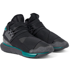 Y-3 - Qasa Suede-Trimmed Stretch-Shell High-Top Sneakers
