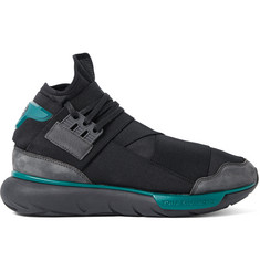 Y-3 Qasa Suede-Trimmed Stretch-Shell High-Top Sneakers