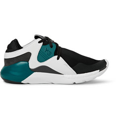 Y-3 QR Run Leather-Trimmed Neoprene Sneakers