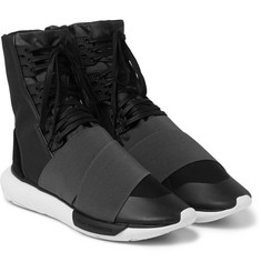 Y-3 - Qasa Suede-Trimmed Elastic and Mesh High-Top Sneakers
