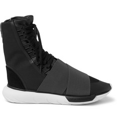 Y-3 Qasa Suede-Trimmed Elastic and Mesh High-Top Sneakers