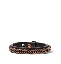 Givenchy Leather and Copper Chain Bracelet